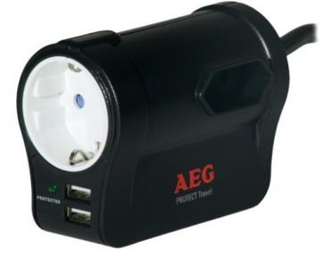 Удължител със защита AEG Protect Travel. Surge Protector